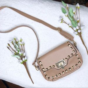 Tan Faux-Leather Crossbody Bag with Gold Studs